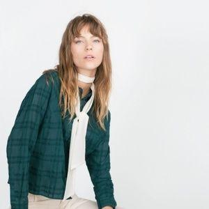 Zara Basic Green Plaid Button Down Shirt M